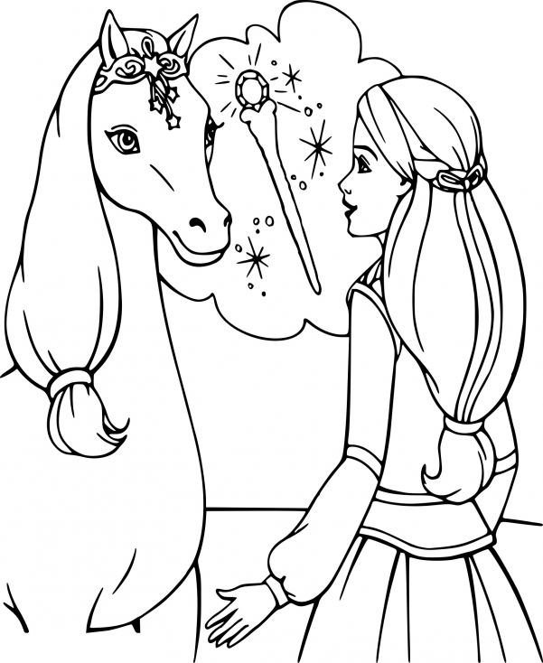Coloriage de Barbie a cheval
