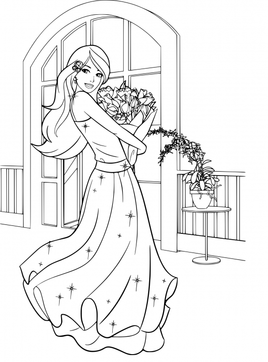 Coloriage de Barbie au bal